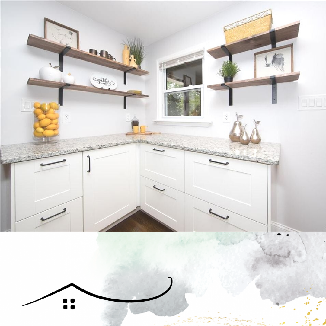 kitchen counter with shelves above